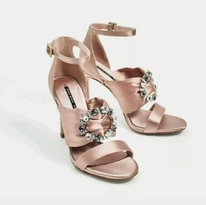 Zara Satin Crystal Brooch Nude Pink Heels Sandals